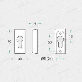 rozeta 191 PZ M1 - mosadz leštená-technický list